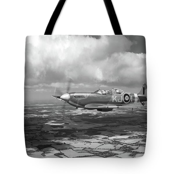 Tote Bag featuring the photograph Spitfire Tr 9 Sm520 Bw Version by Gary Eason