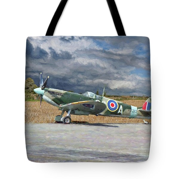 Spitfire Under Storm Clouds Tote Bag
