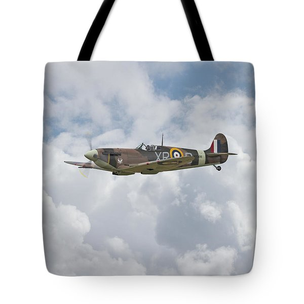 Tote Bag featuring the digital art  Spitfire - Us Eagle Squadron by Pat Speirs
