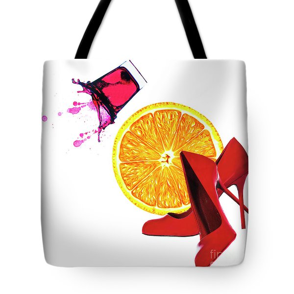Tote Bag featuring the mixed media Splash Of Red by Elena Nosyreva