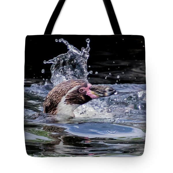 Tote Bag featuring the photograph Splashing Humboldt Penguin by Scott Lyons