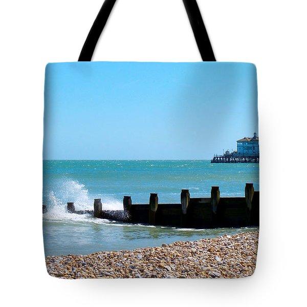 Splashing Waves By The Sea Tote Bag
