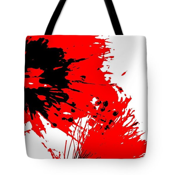 Splatter Black White And Red Series Tote Bag