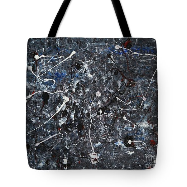 Tote Bag featuring the painting Splattered - Grey by Jacqueline Athmann