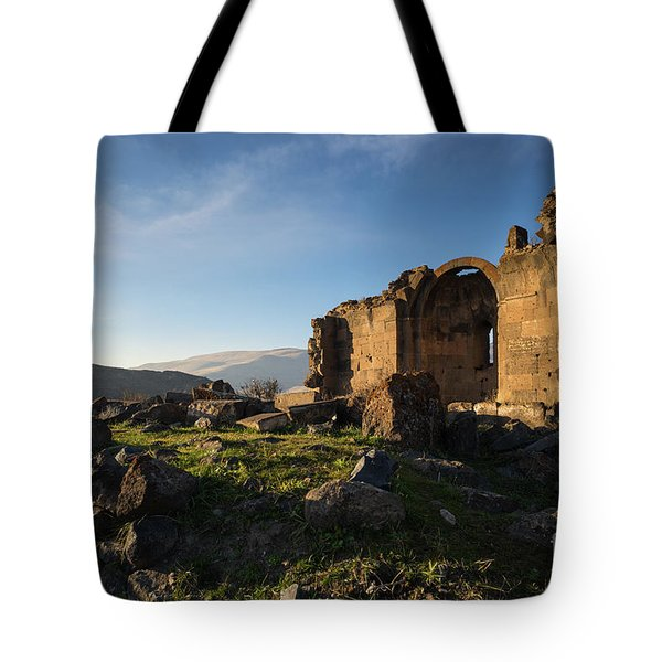 Splendid Ruins Of St. Grigor Church In Karashamb, Armenia Tote Bag