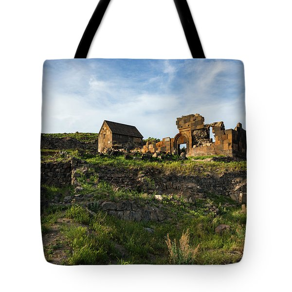Splendid Ruins Of St. Sargis Monastery In Ushi, Armenia Tote Bag