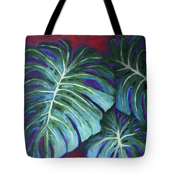 Tote Bag featuring the painting Split Leaf Philodendron by Phyllis Howard