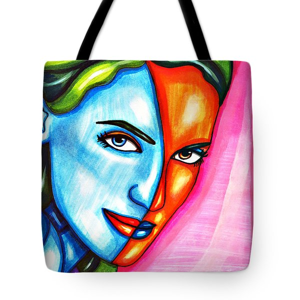Split Personality Woman Abstract Drawing Tote Bag