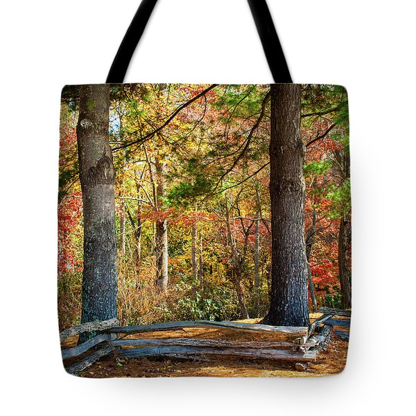Split Rail Fence And Autumn Leaves Tote Bag