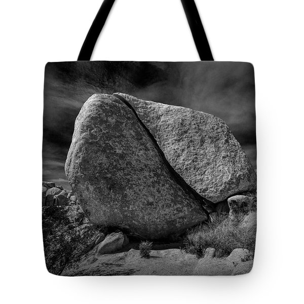 Tote Bag featuring the photograph Split Rock In Black And White At Joshua Tree National Park by Randall Nyhof