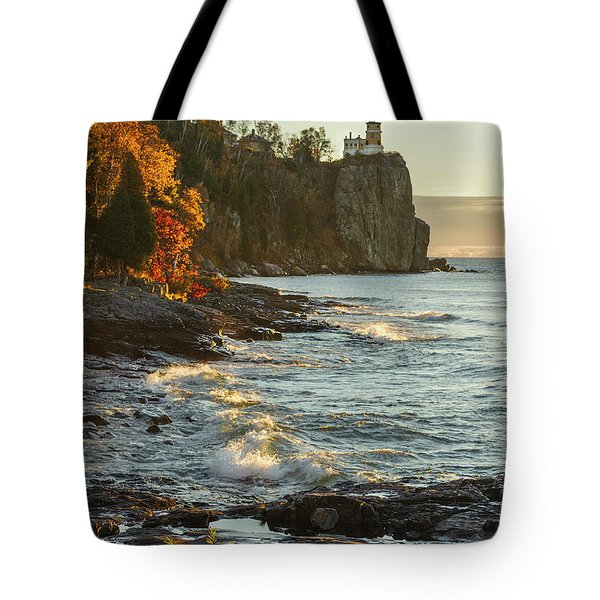 Split Rock Lighthouse At Sunrose Tote Bag