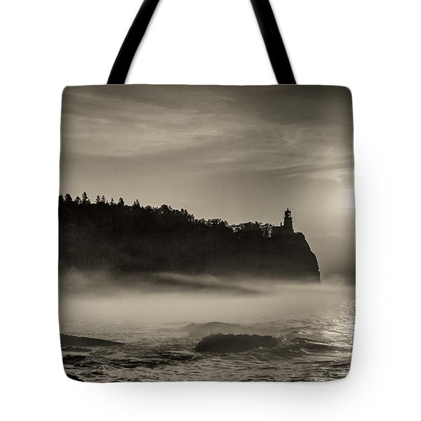 Split Rock Lighthouse Emerging Fog Tote Bag