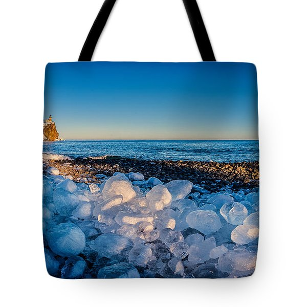 Split Rock Lighthouse With Ice Balls Tote Bag