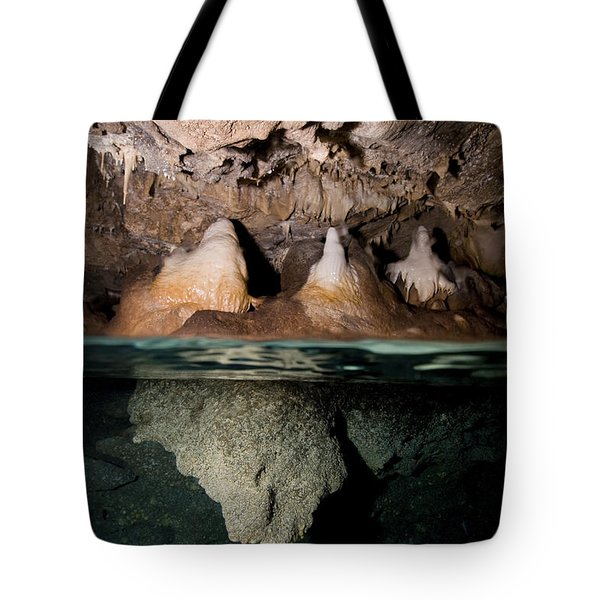 Split Shot Of Stalactites Tote Bag by Mathieu Meur