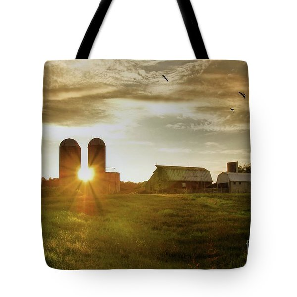 Split Silo Sunset Tote Bag