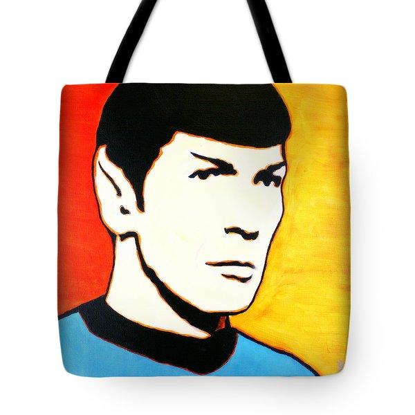 Tote Bag featuring the painting Spock Vulcan Star Trek Pop Art by Bob Baker