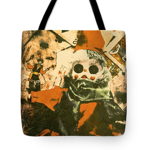Spooky Carnival Clown Doll Tote Bag