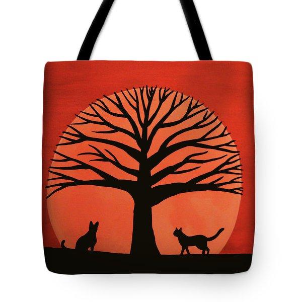Spooky Cat Tree Tote Bag