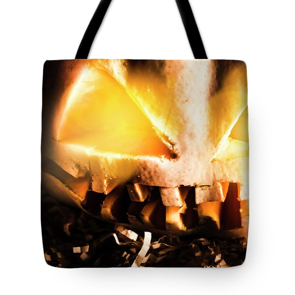 Spooky Jack-o-lantern In Darkness Tote Bag