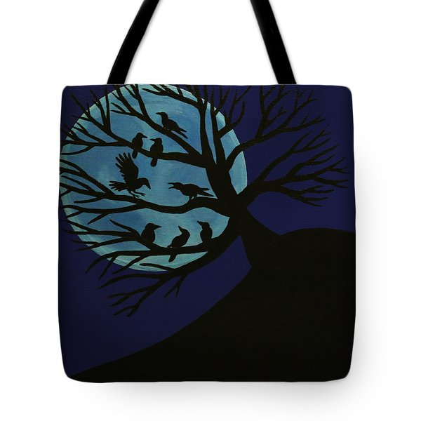 Spooky Raven Tree Tote Bag