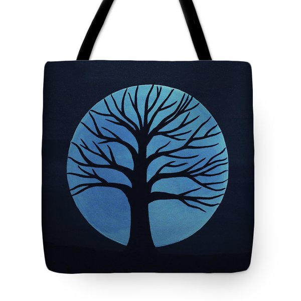 Spooky Tree Blue Tote Bag