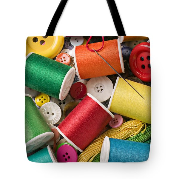 Spools Of Thread With Buttons Tote Bag by Garry Gay