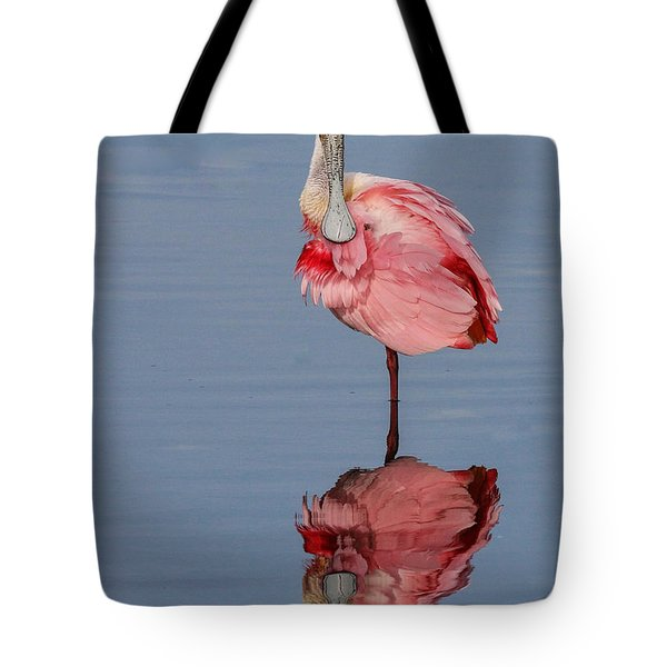 Spoonbill And Reflection Tote Bag