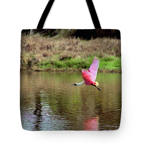 Spoonbill In Flight Tote Bag