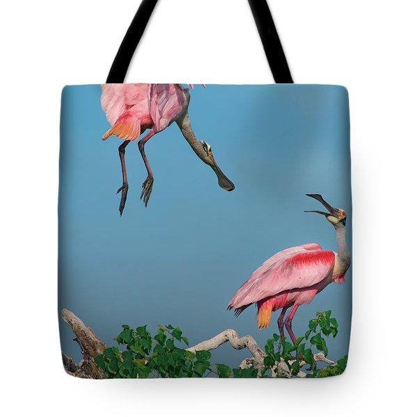 Spoonbills Greeting Tote Bag
