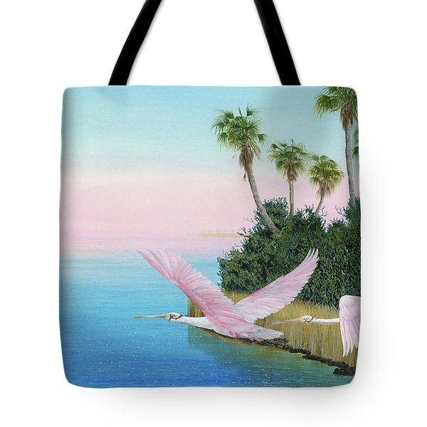 Spoonbills In Flight Tote Bag