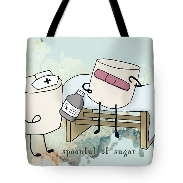 Spoonful Of Sugar Words Illustrated  Tote Bag by Heather Applegate