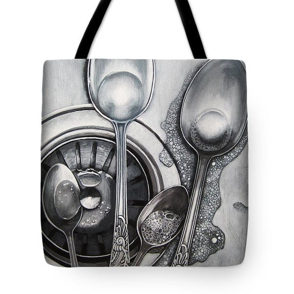 Spoons And Stainless Steel Realistic Still Life Painting Tote Bag by Linda Apple