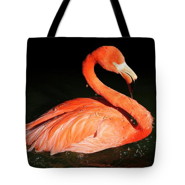 Spotlight On A Bathing Flamingo Tote Bag