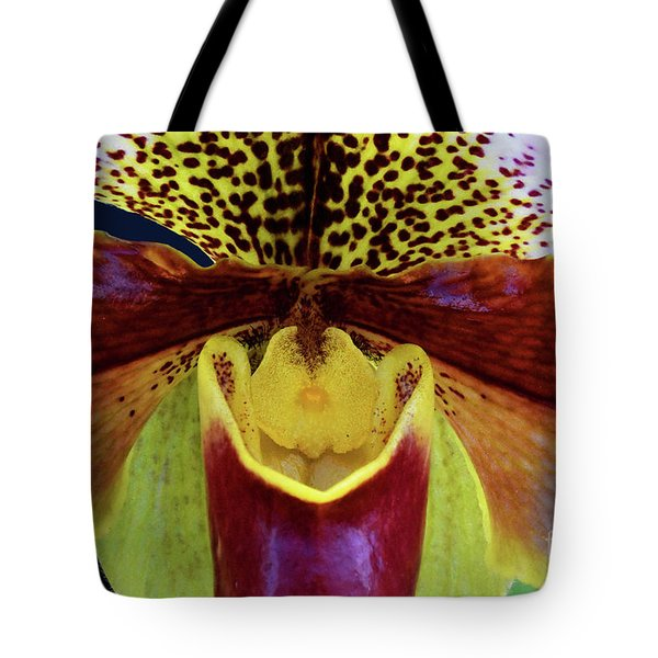 Spotted Paphiopedilum Orchid Detail  Tote Bag