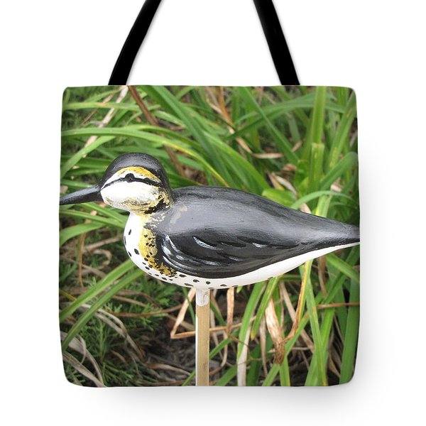 Tote Bag featuring the sculpture Spotted Sandpiper  by Kevin F Heuman