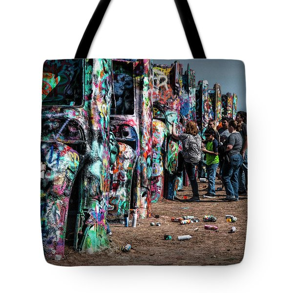 Tote Bag featuring the photograph Spray Paint Fun At Cadillac Ranch by Randall Nyhof