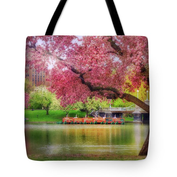 Tote Bag featuring the photograph Spring Afternoon In The Boston Public Garden - Boston Swan Boats by Joann Vitali