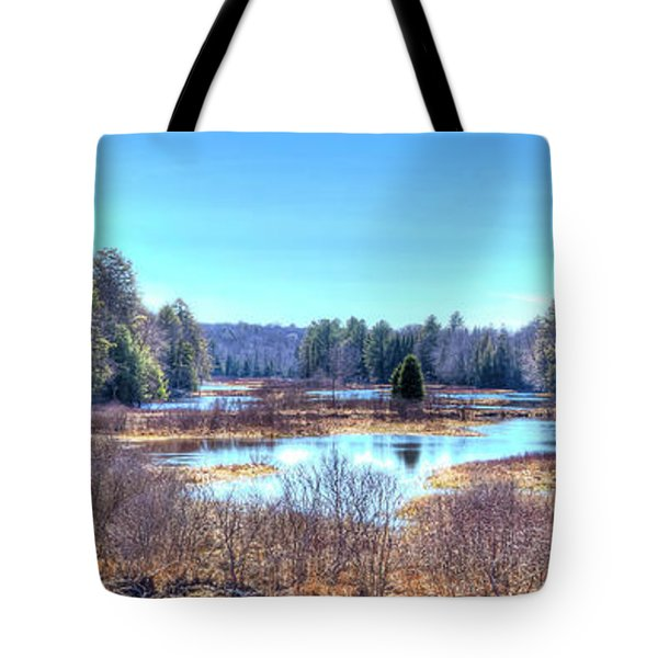 Tote Bag featuring the photograph Spring Scene At The Tobie Trail Bridge by David Patterson