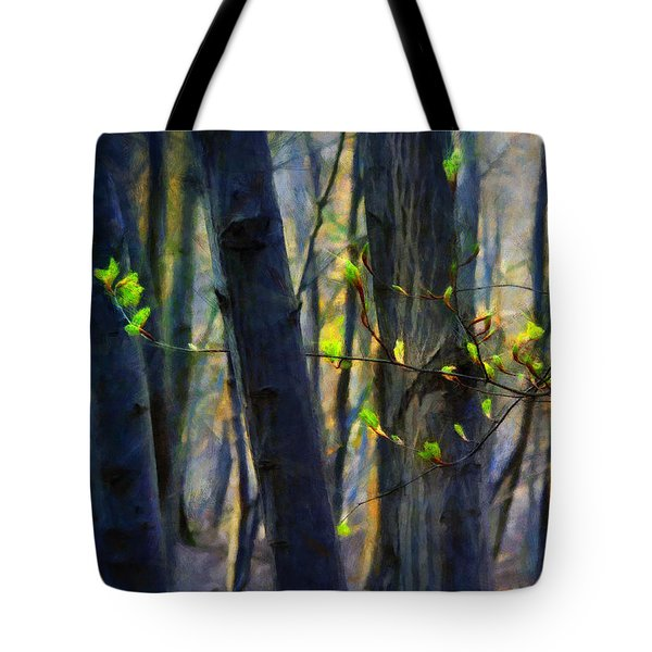 Tote Bag featuring the painting Spring Awakening In The Forest by Menega Sabidussi