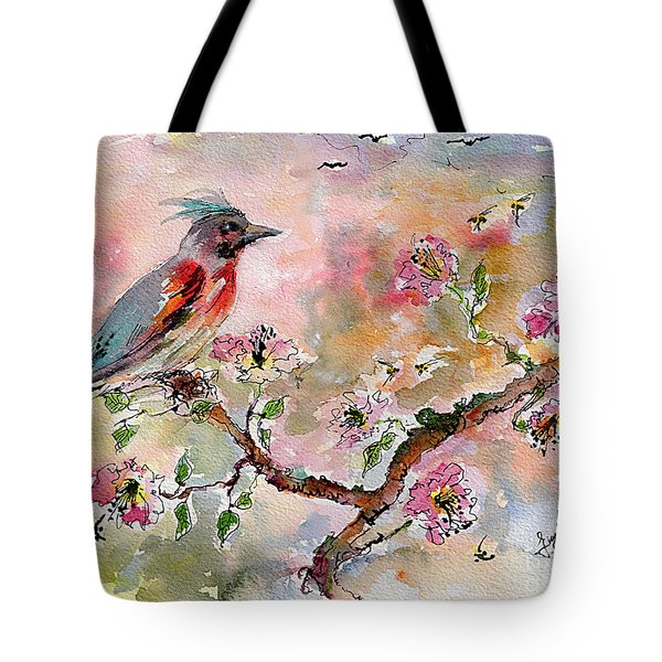 Spring Bird Fantasy Watercolor  Tote Bag