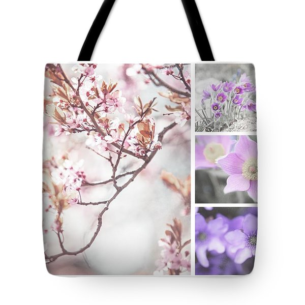 Tote Bag featuring the photograph Spring Bloom Collage 1. Shabby Chic Collection by Jenny Rainbow