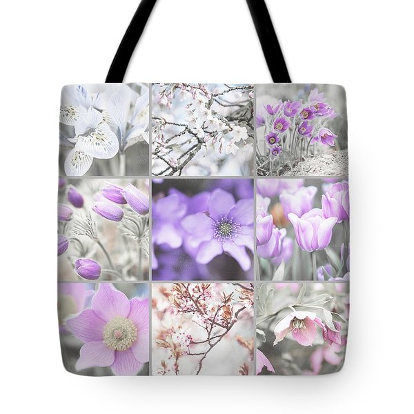 Tote Bag featuring the photograph Spring Bloom Collage. Shabby Chic Collection by Jenny Rainbow