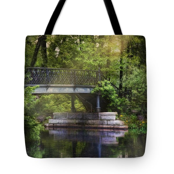 Tote Bag featuring the photograph Spring Bridge by Robin-Lee Vieira