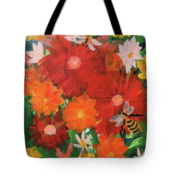Spring Bumble Bees Tote Bag