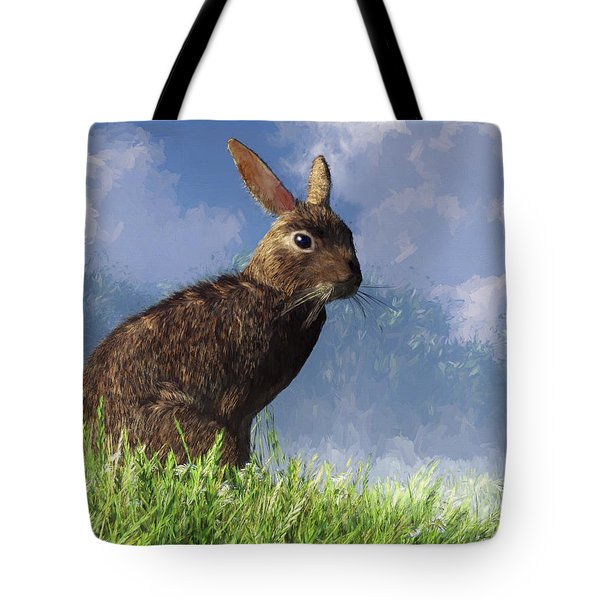 Tote Bag featuring the digital art Spring Bunny by Daniel Eskridge