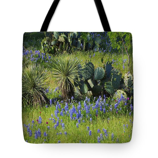Spring Cactus, Yucca And Blue Bonnets Tote Bag