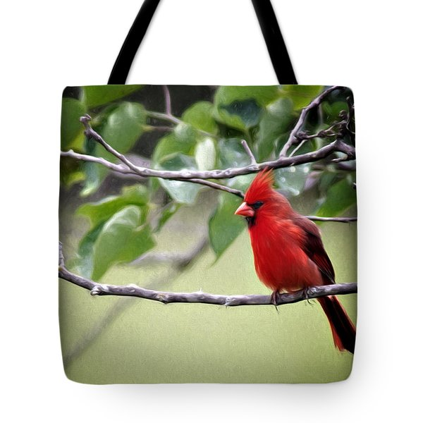 Tote Bag featuring the photograph Spring Cardinal by Lana Trussell