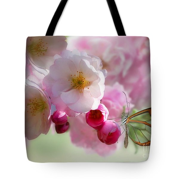 Spring Cherry Blossom Tote Bag by Morag Bates