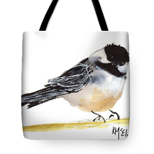 My Little Chickadee Bird Art Watercolor And Gouache And Ink Painting By Kmcelwaine Tote Bag