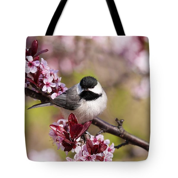 Spring Chickadee  Tote Bag by Lara Ellis